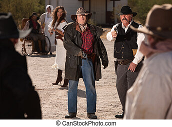 Mean Gunfighters in Shoot Out - Angry male and female...