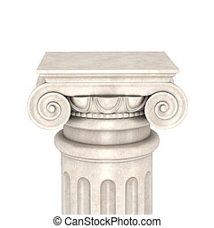 Marble column isolated on white background 3d render