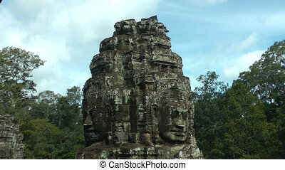 Closeup of Stone Faces in Bayon Tem - Closeup of Stone...