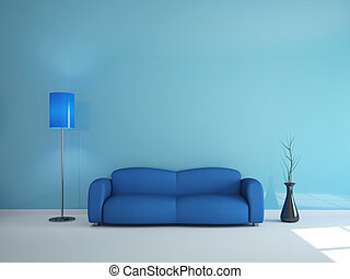 Room interior with a blue sofa and a lamp