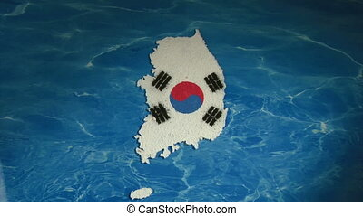 South Korea map and flag, zoom in