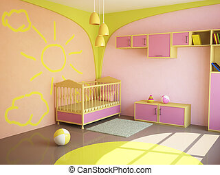 Room for the child - Room interior with a bed for the child