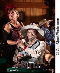 Sneaky Old Gambler - Sneaky old poker player gets winning...