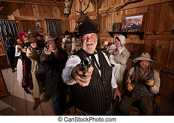 Laughing with Guns - Laughing man with old west gang point...