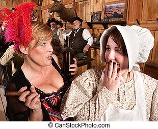 Gossiping Women in Old Saloon