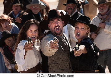Yelling Gunfighters - Three gunfighters yell while shooting...