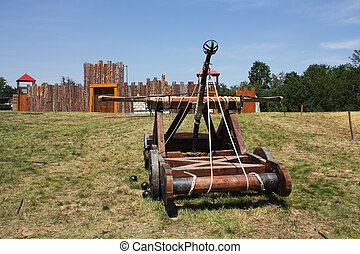 Catapult - Wooden catapult that was used during the Middle...
