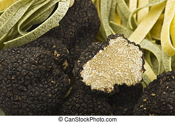 freshly harvested truffles  and sliced close up