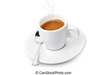 Cup of coffee smoked over seed background