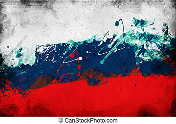 Russian flag - Grunge Russian flag, image is overlaying a...