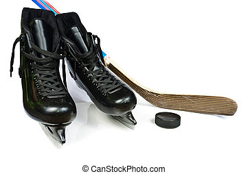 Hockey skates and stick Isolated on white background