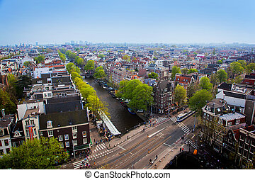 Amsterdam panorama, Holland, Netherlands. City view from...