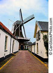 Windmill, historic small village in Netherlands