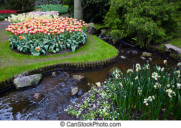Colorful spring summer park, flowers