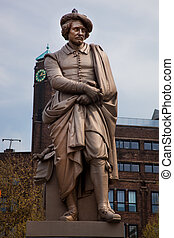 The statue of Rembrandt in Amsterdam - The statue of...