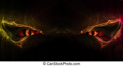 Demon Eyes - Close up of a demon face with cat-like glowing...