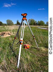 Theodolite, Land surveyor Measurement Device at Construction...