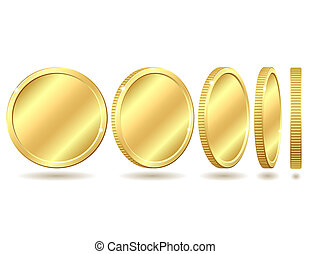 golden coin - Gold coin with different angles. Vector...