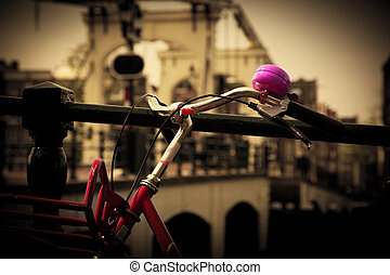 The Magere Brug, Amsterdam. Bike close up - The Magere Brug,...