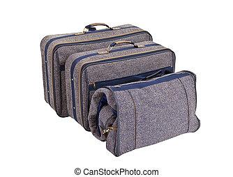 Vintage Blue Tweed Suitcase Set Isolated - Vintage blue...