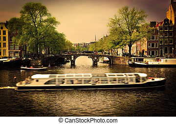 Amsterdam Romantic bridge over canal - Amsterdam, Holland,...