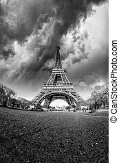Front view of Eiffel Tower from Champ de Mars, Paris