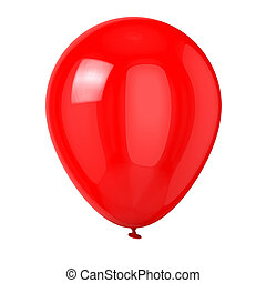 Red Balloon - Balloon isolated on white background.