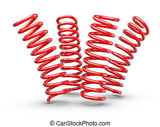 Bouncing Springs - Springs isolated on white background.