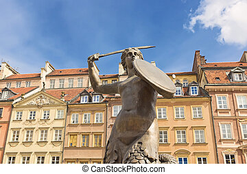 Sights of Poland. - Warsaw Old Town Square and symbol of...