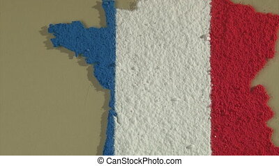 France map, zoom out - France map and flag, zoom out
