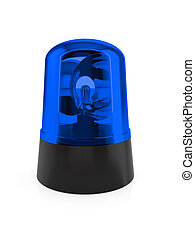 Blue flashing light - 3d render of blue flashing light on a...