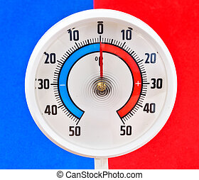 Outdoor thermometer. Photos of the blue and red background