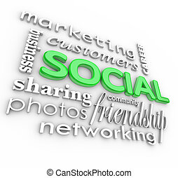 Social 3d Words Background Community Business Marketing -...
