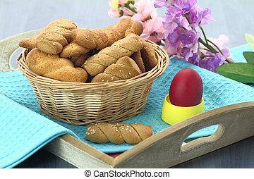 mantequilla, mantecada, galletas, Pascua, huevo, tabla