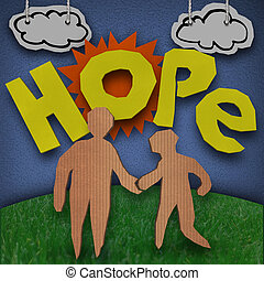 Hope Cardboard Diorama Word People Holding Hands - A paper...