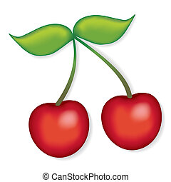 Cherries - Fresh, natural orchard garden cherries EPS8...