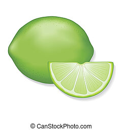 Limes - Fresh, natural lime, lime slice. EPS8 compatible....