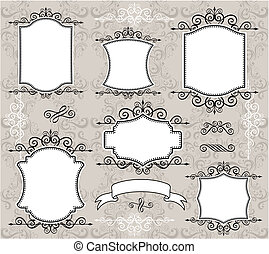 vintage frame elements - set of retro labels or frames and...