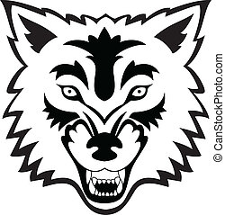 Wolf Face Tattoo - Vector Illustration Of Wolf Face Tattoo