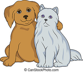 Puppy With Cat - Vector Illustration Of Puppy With Cat