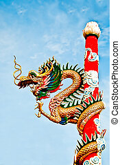 The Dragon status on pole in joss house