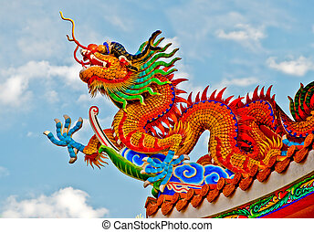 The Colorful of dragon on roof of joss house