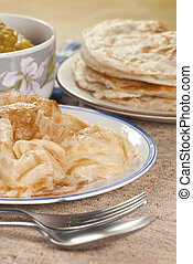 Roti Canai with Lentil Curry