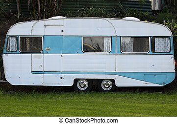 Old Caravan - An old fashioned trailer caravan.