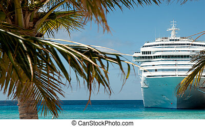 cruise ship - white luxury cruise ship and palm tree
