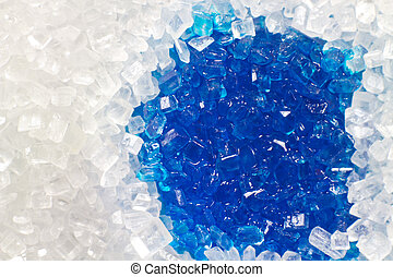 Sugar macro with a blue wet spot