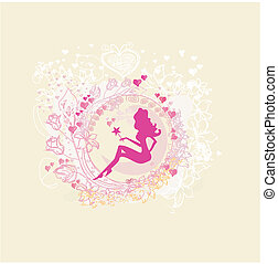 beautiful fairy - floral background with a beautiful fairy