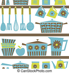 Retro Kitchen Background - Seamless pattern with kitchen...