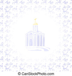 Light Temple - Church on background of ancient animals and...