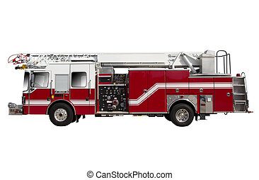 Fire Truck - Red Fire Truck isolated on White